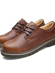 Da uomo Oxford Footing Comoda PU (Poliuretano) Estate Casual Lacci Piatto Nero Marrone 5 - 7 cm