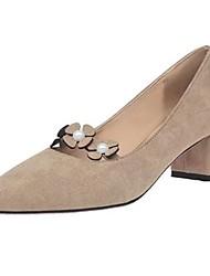 preiswerte -Damen High Heels Pumps Herbst PU Kleid Blume Block Ferse Schwarz Grün Khaki 7,5 - 9,5 cm