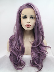 cheap -Synthetic Lace Front Wig Natural Wave Side Part Heat Resistant Natural Hairline Purple Women's Lace Front Natural Wigs Long Synthetic Hair