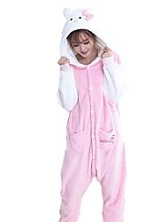 economico -Pigiama Kigurumi Gatto Pigiama intero Pigiami Costume Flanella Rosa Cosplay Per Per adulto Pigiama a fantasia animaletto cartone animato