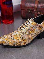 abordables -Hombre Zapatos Cuero de Napa Otoño Invierno Zapatos formales Oxfords Senderismo Para Casual Fiesta y Noche Dorado Plata