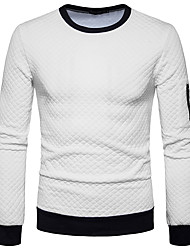 cheap -Men's Long Sleeves Sweatshirt - Solid Colored Round Neck