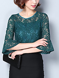 cheap -Women's Going out Work Plus Size Street chic Spring Fall Blouse,Embroidery Round Neck 3/4 Length Sleeves Polyester Spandex Medium