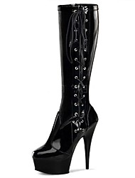Women's Boots Fashion Boots Winter PU Party & Evening Zipper Stiletto Heel Black 5in & over