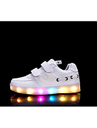 Girls' Sneakers Light Up Shoes Fall Winter Synthetic Microfiber PU Casual Magic Tape Flat Heel White Black Fuchsia Flat