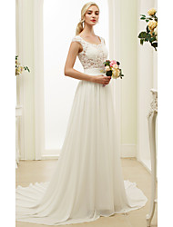 cheap -A-Line Princess Scoop Neck Court Train Chiffon Lace Wedding Dress with Appliques Sash / Ribbon by LAN TING BRIDE®