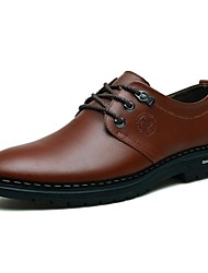 Men's Oxfords Comfort Spring Summer Fall Winter Leather Casual Lace-up Low Heel Black Brown Under 1in