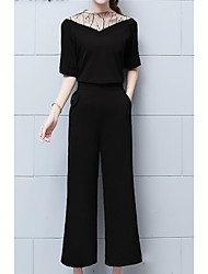 Women's Going out Work Simple Sexy Spring Fall Blouse Pant Suits,Solid V Neck Short Sleeve Inelastic