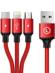llano LJN-SJX035 USB 2.0 Connect Cable USB 2.0 to USB 2.0 Type C Micro USB 2.0 Lightning Connect Cable Male - Male 1.2m(4Ft)