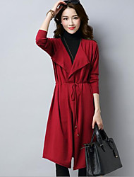 Women's Casual/Daily Long Cardigan,Solid Cowl Neck 3/4 Length Sleeves Wool Others Fall Winter Medium Micro-elastic