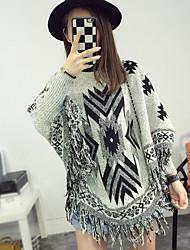 Standard Pullover Da donna-Casual Con stampe Rotonda Manica lunga Cotone Autunno Medio spessore Media elasticità