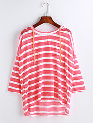cheap -Women's Casual Cotton T-shirt - Solid Colored Striped