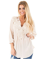 Women's Solid V Neck Plus Size Big Fat Casual/Daily Lace Patch Work 3/4 Length Sleeves Chiffon Blouse