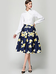 Women's Daily Going out Holiday Midi Skirts A Line Polyester Floral Winter Fall
