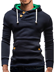 Men's Daily Casual Hoodie Color Block Hooded Inelastic Cotton Polyester Long Sleeve Spring Fall