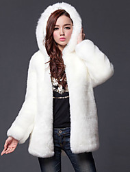 Women's Going out Plus Size Simple Casual Winter Fall Fur Coat,Solid Hooded Long Sleeve Regular Faux Fur