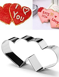 cheap -Valentine's Love Heart to Heart Shape Cookie Cutter, Stainless Steel