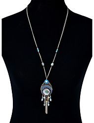 Lureme Bohemian Hollow Out Teardrop with Flower Beads Tassel Pendant Necklace for Women