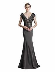 cheap -Mermaid / Trumpet V-neck Sweep / Brush Train Mikado Rehearsal Dinner Formal Evening Dress with Beading Appliques by Sarahbridal