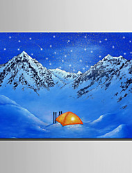 cheap -E-HOME® Stretched LED Canvas Print Art Tent In The Snow LED Flashing Optical Fiber Print One Pcs