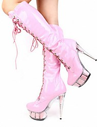 cheap -Women's Shoes PU Winter Fashion Boots Boots Stiletto Heel Round Toe Knee High Boots Zipper for Party & Evening Black / Red / Pink