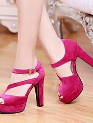 Damen Schuhe PU Sommer Komfort High Heels Blockabsatz Peep Toe Für Normal Schwarz Beige Fuchsia