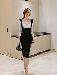 Damen Solide Einfach Lässig/Alltäglich Bluse Rock Anzüge,Bateau Frühling Lange Ärmel Mikro-elastisch