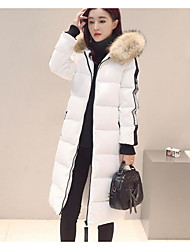 Women's Down Coat,Simple Active Going out Solid Striped Print-Cotton Acrylic Others Polypropylene Long Sleeves