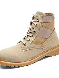 Men's Boots Bootie Fall Winter Nubuck leather Casual Outdoor Office & Career Low Heel White Black Light Brown Under 1in