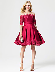 cheap -Princess Off Shoulder Knee Length Lace Satin Cocktail Party Dress with Sash / Ribbon Pleats by TS Couture®