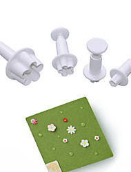 cheap -4 Pieces Cake Molds Blossom little flower plastic sugar craft fondant plunger cake cutters classic cake decorating tools fondant mold