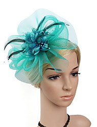 Women's Feather / Net / Plastic Headpiece-Wedding / Special Occasion / Party Fascinators Flowers 1 Piece Bride Hair Accessories