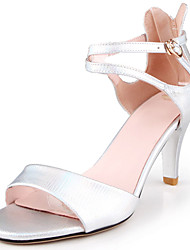 Damen Sandalen Komfort Pumps formale Schuhe PU Frühling Sommer Kleid Party & Festivität Schnalle Stöckelabsatz Silber Grau 7,5 - 9,5 cm