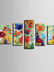 cheap -E-HOME Stretched Canvas Art Colorful Flowers Decoration Painting Set Of 5