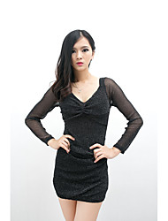 Women's Club Sheath Dress,Solid V Neck Above Knee Long Sleeves Polyester Summer Mid Rise Micro-elastic Thin