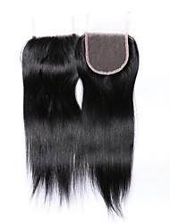 Недорогие -1 шт. 8-20 дюймов 100% необработанный класс 7а натуральный пряный черный бразильский человеческий затвор для волос свободный / средний / 3