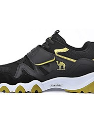 Women's Athletic Shoes Comfort Spring Fall Suede Running Shoes Athletic Lace-up Flat Heel Black/Gold Blue Flat