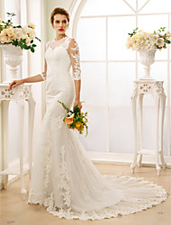 cheap -Mermaid / Trumpet Illusion Neckline Court Train Lace Tulle Wedding Dress with Appliques Buttons by LAN TING BRIDE®