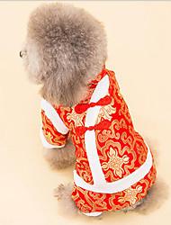 Недорогие -Собака Комбинезоны Одежда для собак Теплый Дышащий На каждый день Новый год Вышивка Белый Черный Костюм Для домашних животных