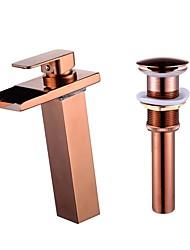 baratos -Faucet Set - Cascata Rosa Dourado Conjunto Central Uma Abertura