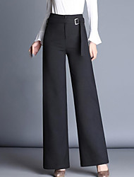 cheap -Women's High Rise Inelastic Straight Wide Leg Pants,Street chic Solid Polyester Fall