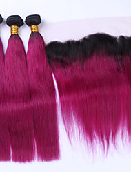 Beata Hair Wine Red Ombre Hair Extensions With Lace Frontal Two Tone 1B/99J Burgundy Dark Root Ombre Human Hair Straight With Pre Plucked Frontal