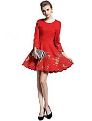 abordables -Mujer Línea A Vestido Festivos Noche Casual/Diario Trabajo Playa Vintage Sofisticado,Bordado Escote Redondo Sobre la rodilla Manga 3/4