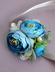 cheap -Wedding Flowers Grace Roses Wrist Corsages Wedding / Special Occasion Satin / Bead / Fabric The Bride's Wrist Flower