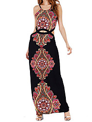 cheap -Women's Going out Swing Dress,Print Halter Maxi Sleeveless Others Summer Mid Rise Micro-elastic Medium