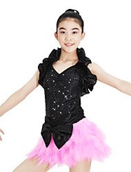MiDee Dancewear Ruffle Shrug Sequin Leotard And Feather-Skirt Jazz/Modern Cheerleader Dance Costumes (More Colors)