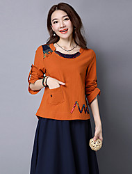cheap -Women's Daily Chinoiserie T-shirt,Print Round Neck Long Sleeves Cotton Linen