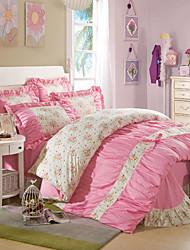 cheap -Duvet Cover Sets Floral 4 Piece Reactive Print 1pc Duvet Cover 2pcs Shams 1pc Flat Sheet