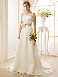 cheap -A-Line V Neck Court Train Lace / Satin Custom Wedding Dresses with Sashes / Ribbons / Flower by LAN TING BRIDE®