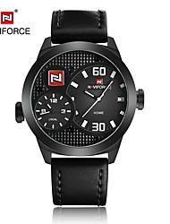 cheap -Men's Dress Watch Fashion Watch Japanese Quartz Calendar / date / day Water Resistant / Water Proof Dual Time Zones Genuine Leather Band